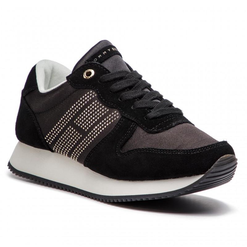 85ef7fa4478 TOMMY HILFIGER Sparkle Satin City Sneaker FW0FW03991 Black 990